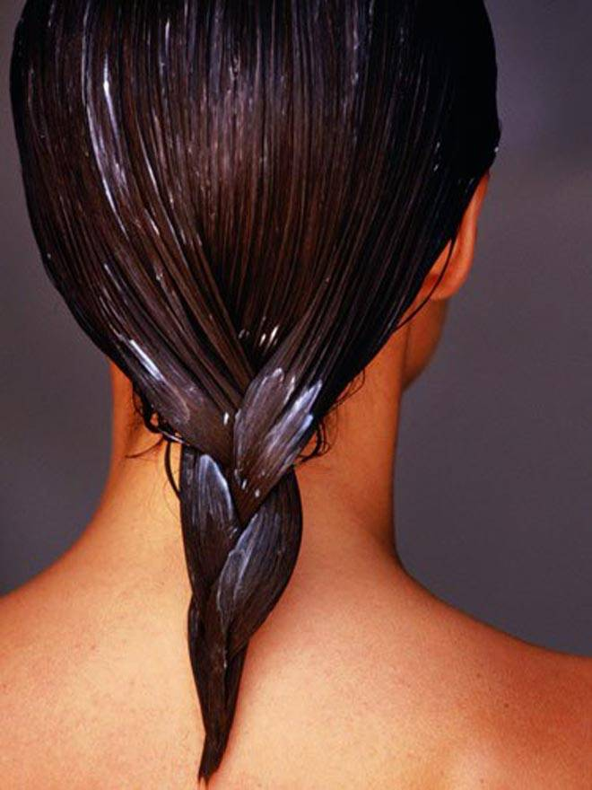 Woman's hair with conditioner